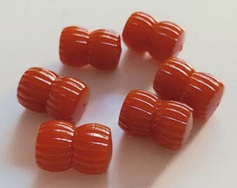 18x12 Vintage Burnt Red Orange Ridged double Barrel Hourglass shape tube Acrylic beads  6pcs
