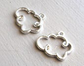 2 Bright Silver Toned Open Cloud Charms Pendants, DIY Jewelry Supplies
