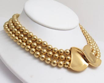 Vintage Napier Gold Bead Necklace Multi Strand Bow Pendant Jewelry N8029