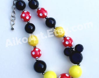 SPECIAL: Made to match Minnie Mouse Dress by JK Heirloom Chunky Necklace for girls