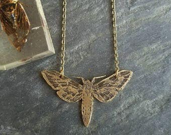 Moth on Flight Pendant, Etched Brass, Insect Jewelry, Nocturnal
