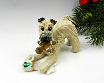Soft Coated Wheaten Terrier Christmas Ornament Figurine Santas Milk Porcelain