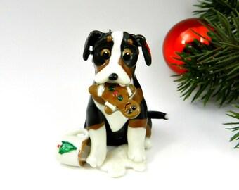 Greater Swiss Mountain Dog Ornament Santa's Milk Cookie Porcelain