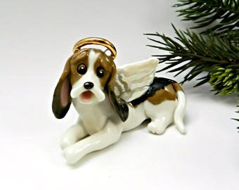 Angel Basset Hound Tricolor Christmas Ornament Figurine Porcelain