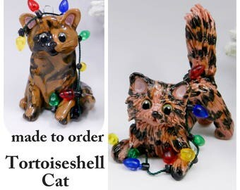 Tortoiseshell Tortie Cat Christmas Ornament Figurine Made to Order in Porcelain