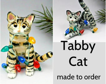 Tabby Cat Porcelain Christmas Ornament Figurine Made to Order