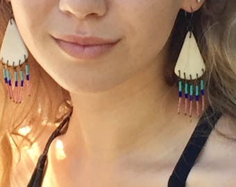 Ivory Tagua nut earrings with small glass beads fringe