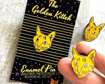 Cat enamel pin, golden kitteh