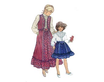 Gunne Sax Girls Pattern Blouse, Skirt and Quilted Vest Victorian Revival Prairie Fancy Lace Simplicity 5162 Size 6 Vintage Sewing Pattern