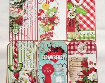 Retro Style Mixed Strawberry Gift or Scrapbook Tags #T 34