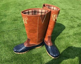 Monogram Duck Boots - Tall Monogram Duck boots | Monogram Rain Boots | Monogram Rain Boots | Preppy Monogram Boots | Pre-Order
