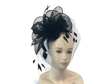 "Women's Kentucky Derby Fascinator Headband, Ascot Fashion, Burlesque Fascinator Headpiece in Black Sinamay- ""Fascinator Fantaisie"""