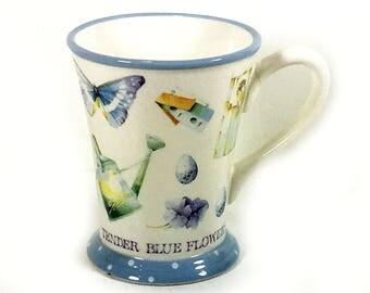 "Vintage ""Marjolein Bastin"" Coffee Mug, "" Blue Skies, Butterflies, Tender Blue Flowers"", Birds, Birdhouses, Gardening, by Hallmark"