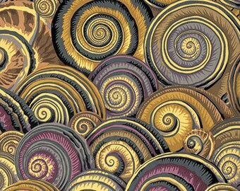 Kaffe Fasset Decorator Cotton Spiral Shells in Brown 1/2 Yard