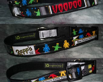 Adjustable Dog Collar from recycled Zapp's New Orleans Kettle Style Voodoo Chip Bags