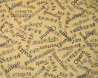 Musical Notes  and Phrases on Cotton Fabric