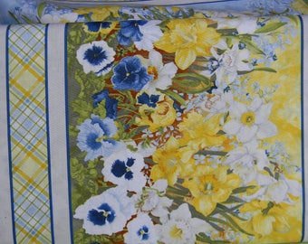 Walking on Sunshine Border Print Cotton Fabric In Blue and Yellow by Wilmington Prints