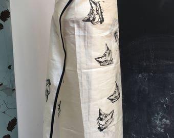 Paper silk screenprinted wrap skirt handprinted cats