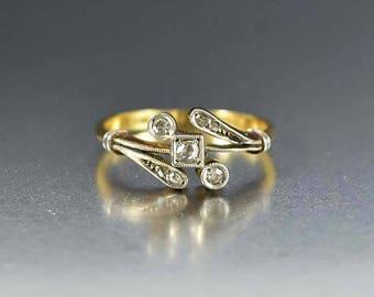 Sale Antique Diamond Engagement Ring | Edwardian 18K Gold Ring | Rose Cut Diamond Ring Gold Engagement Ring | Antique Ring | Edwardian Ring