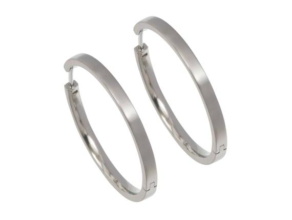 32mm natural pure titanium hoop earrings, 100% Hypoallergenic, Sensitive ear