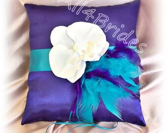 Purple and turquoise wedding ring bearer pillow, purple and blue wedding pillow, ring cushion
