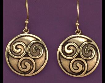 CELTIC TRIPLE SPIRAL- Earrings- Bronze