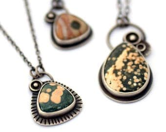 Ocean Jasper Necklace,  Oxidized Silver Necklace Inspired by Space, Green and Peach Jasper Necklace, Handcrafted Metalsmith Jewelry