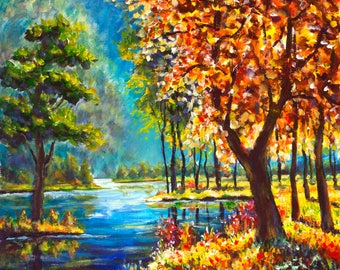 Beautiful river in forest-2 - oil painting for sale. Worldwide shipping!