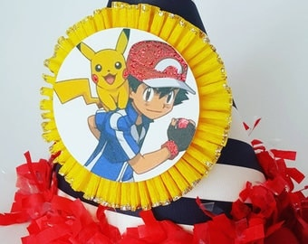 Ash and Pikachu hat, birthday party hat, pokemon hat, pokemon birthday party decorations, pokemon party, pikachu party, pokemon go party