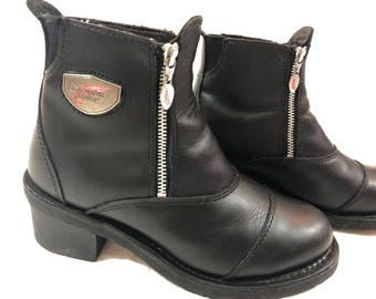 Womens Redwing black leather chunky biker ankle boots Nice! 8.5 9 see description size**
