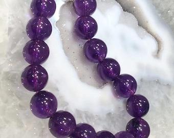50% Mega Sale 15mm Brazil Dark Amethyst Round Gemstone Beads