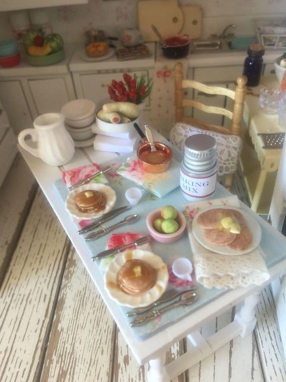 """Miniature Dollhouse Pancake Breakfast Board - 2 1/2"""" x 3 1/2"""""""