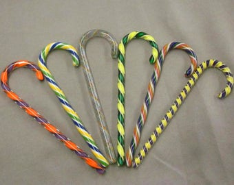 6 Art Glass Candy Canes