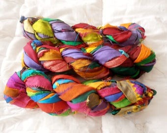 100 grams 1 skeins soft recycled silk ribbon  knitting crochet craft embellishment yarn multicolor mix