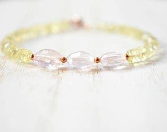 rose quartz & smokey lemon quartz bracelet. sparkly rose and lemon quartz with rose gold filled detail. pale pink and yellow gem bracelet