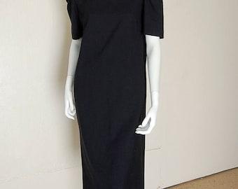 SALE 25% off sundays Baggy Sack Dress Vintage 80s Black Draped Baggy Urban Minimalist Indie Sack Dress (m l xl)