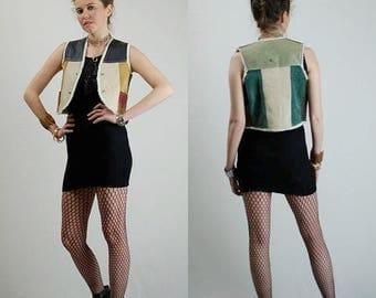 SALE 25% off sundays Leather Vest Vintage 70s Leather Sherpa Patchwork Shrunken Crop Hippie Vest (xs)