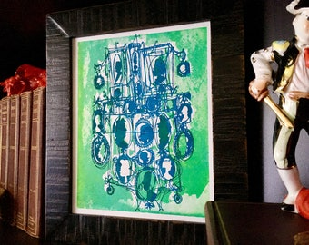 CAMEOS #065   colorful art print, hand printed in electric blue and bright green (8x10)