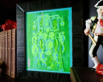 CAMEOS #070   neon green and bright blue fine art screenprint, silhouettes (8x10)