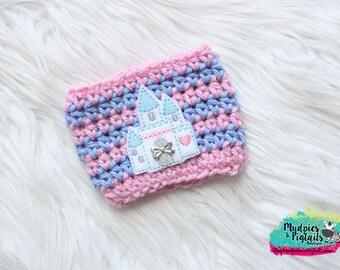Cinderella Crochet Coffee Cozy { Princess Castle } Make it Pink, make it blue Inspired striped, coffee sleeve, mug starbucks water bottle