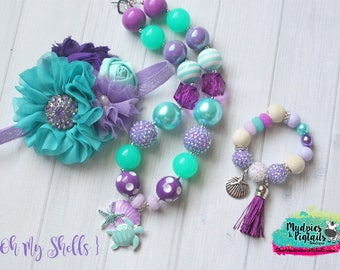 Mermaid { Oh My Shells } first birthday necklace, aqua, purple baby headband, toddler bracelet, under the sea cake smash photography prop