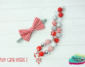 Ready to SHIP Christmas Headband OR Chunky Necklace { Candy Cane Kisses } winter, Santa, First Birthday, Cake smash, photography prop
