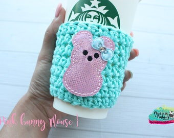 Easter Crochet Coffee Sleeve { Pink Mouse Bunny } candy marshmallow, cup cozy, knit mug sweater, starbucks gift, frappuccino holder