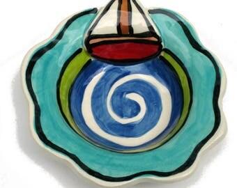 Handmade Pottery Sailboat boat Bowl By Artzfolk