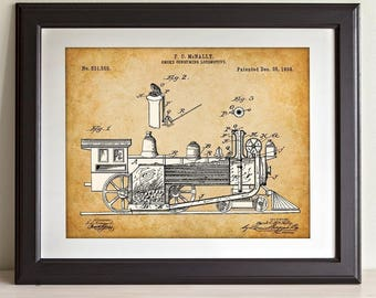 Locomotive Engine - 11x14 Unframed Patent Print - Great Gift for Rail Fans