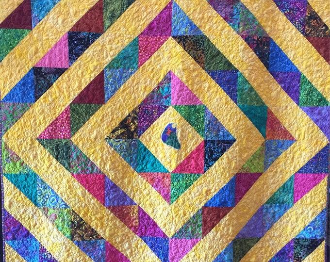 Awaken! 60x72 inch cheerful art quilt