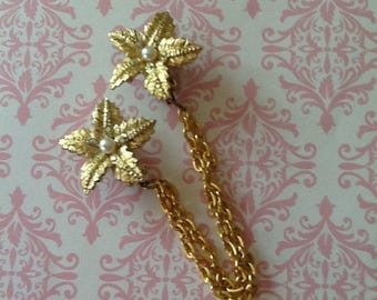 Vintage Sweater Guards Starfish Clips with Auora Borealis Rhinestones Goldtone and fancy links wedding bridal bride prom