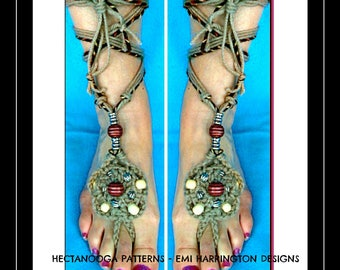 BAREFOOT SANDALS - crochet PATTERN - One size fits all - Beach sandals, #2005 - Bohemian beachwear, festival clothing,