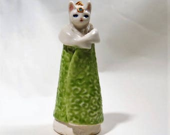 Cat Statue Little Kitty Porcelain Figurine Miniature