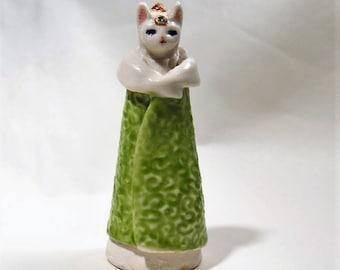 Cat Statue Little Kitty Porcelain Figurine Miniature